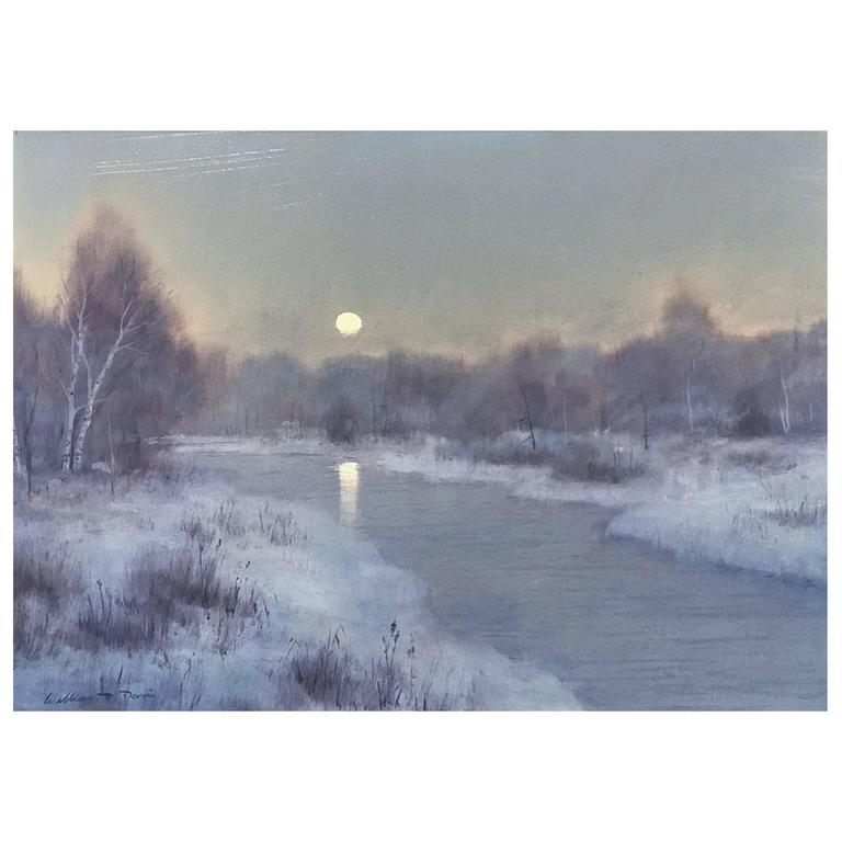William R. Davis Tonalist Winter Landscape Oil Painting, Frosty Morning