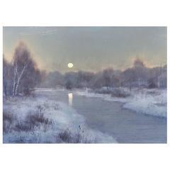 William R. Davis Tonalist Winter Landscape Oil Painting, Frosty Morning