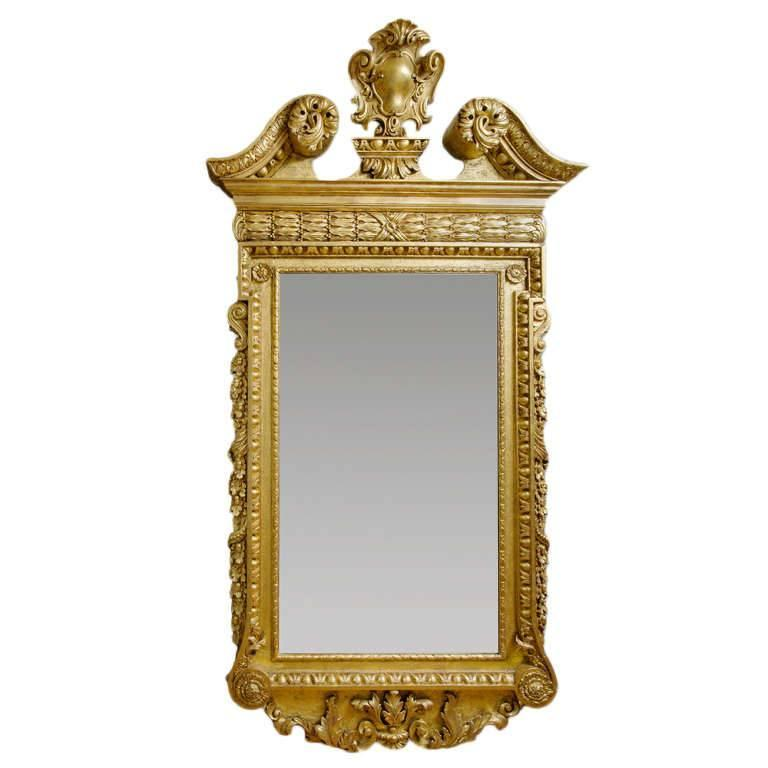 Giltwood and Gesso Palladian Mirror with Broken Pediment