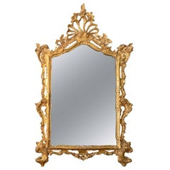 Georgian-Style Rococo Giltwood Mirror with Open Cresting