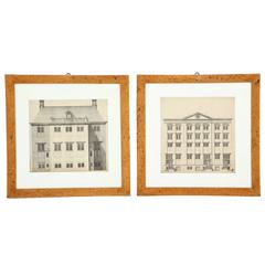Two Swedish Architectural Prints in Alrot Frames