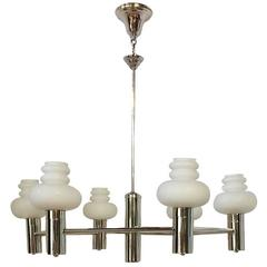 Nickel-Plated Light Fixture with Milk Glass Globes