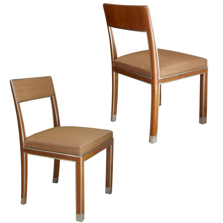 Extraordinary pair of nickel framed Functionalist chairs by Bodafors For Sale