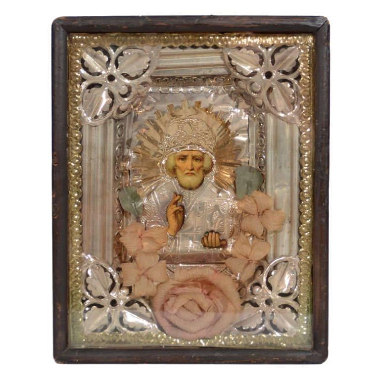 Antique Russian Icon of Saint Nicholas in Repousse Overlay For Sale