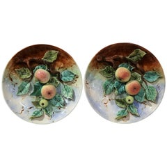 Pair of 19th Century French Hand-Painted Barbotine Wall Plates with Apples