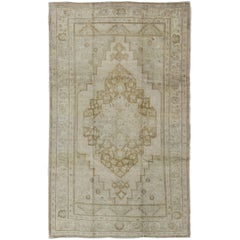 Pale Colored Vintage Turkish Oushak Rug in Gray, Taupe, Cream and Light Brown