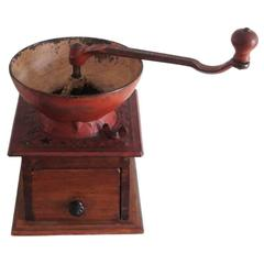 Fantastic Large Tabletop Coffee Grinder with Original Salmon Paint