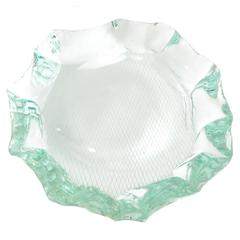 Scalpellato Italian Glass Dish or Vide Poche by Pietro Chiesa Fontana Arte