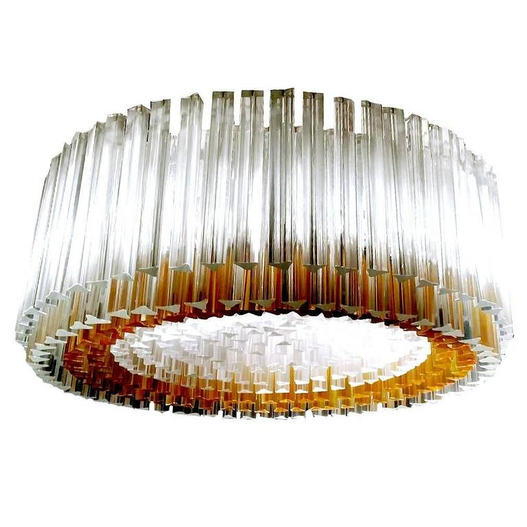 Very Large Venini Murano  Chandelier with 400  Amber Clear Glass Pendant Light