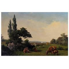 19th Century, Summer Landscape with Cows and Sheep, Signed A. Schovelin