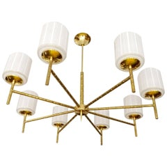 Large French  Maison Bagues Bamboo Brass  Glass Light Chandelier, 1960s