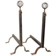 Antique French Ball and Ring Tall Andiron, Pair