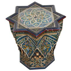 Moroccan Hand-Painted Side Table Blue Color