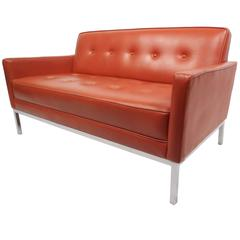 Mid-Century Modern Tufted Vinyl Loveseat with Chrome Base