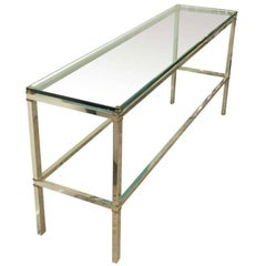 Mixed Metal Heavy Steel Console with Brass Spacers