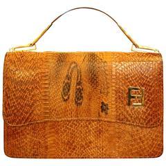 Vintage 1960 Lizard Designer Purse by Fendi Ladies Clutch Hand Bag