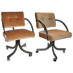 Custom Rolling Arm Desk Chairs with Bronze Frame