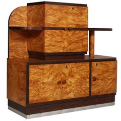 1930s Italian Art Deco Sideboard Buffet in Burl Elmwood by Osvaldo Borsani