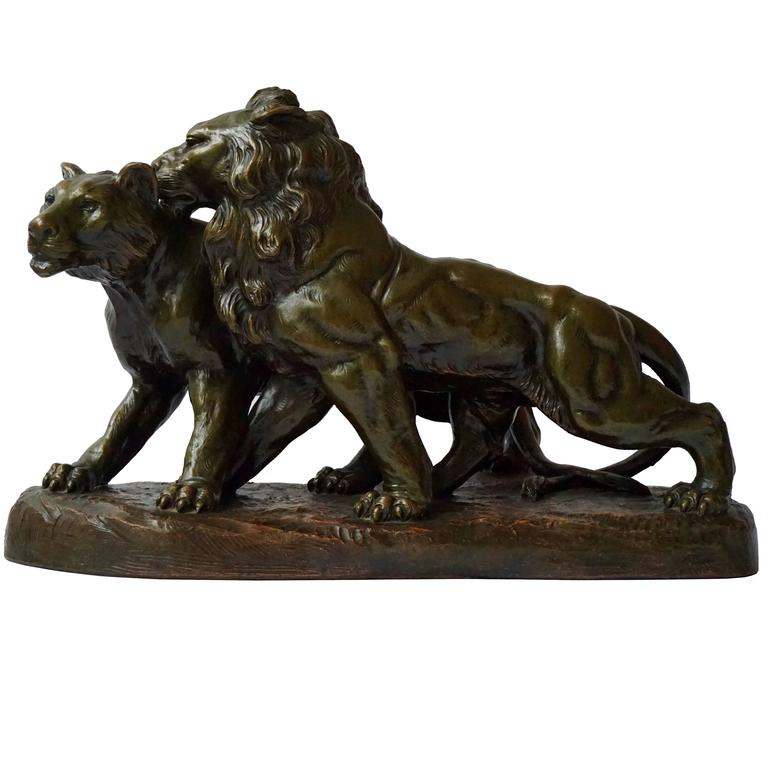 Art Deco Terracotta Lions Sculpture For Sale