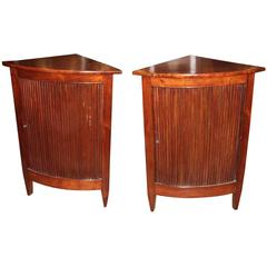 Pair of Italian Walnut Corner Cabinets