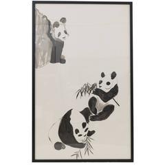 Vintage Panda Ink Art