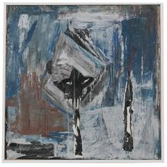 1960s French Abstract Oil Painting