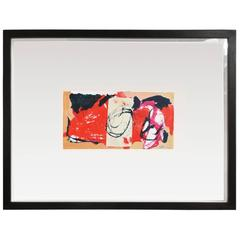 Small Mixed-Media Abstract in Black, Red and Tan