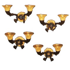 Set of Four Early 19th Century French Bronze and Ormolu Wall Lights