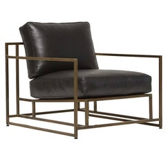 Obsidian Black Leather and Antique Brass Armchair