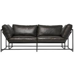 Smoke Leather and Blackened Steel Two-Seat Sofa