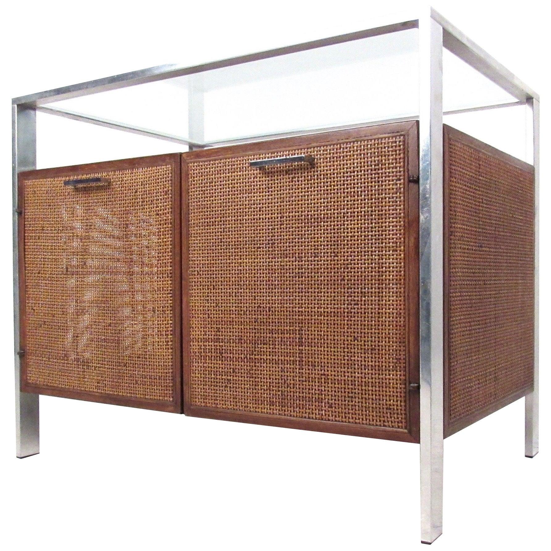 Mid-Century Modern Cane Front Storage Cabinet