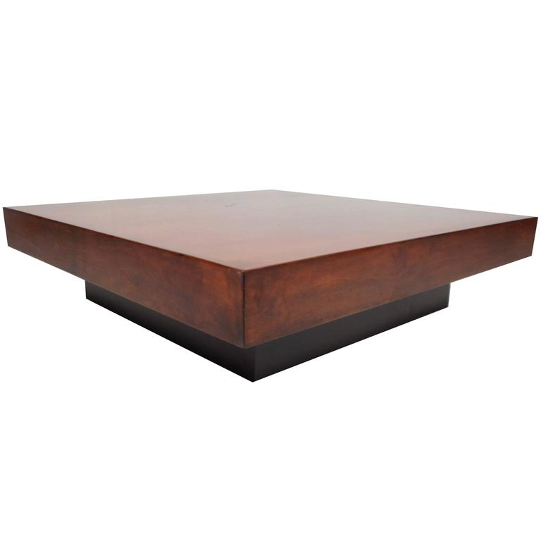 Large mid century modern square burl walnut coffee table at 1stdibs Large square coffee table