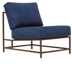 Hand-Dyed Indigo Canvas and Marbled Rust Chair