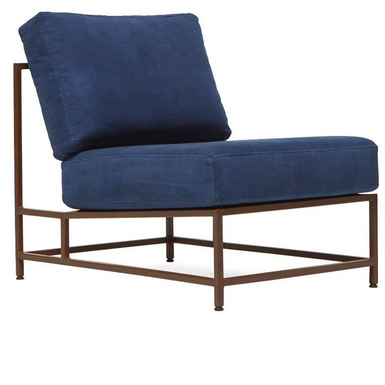 Hand-Dyed Indigo Canvas and Marbled Rust Chair For Sale