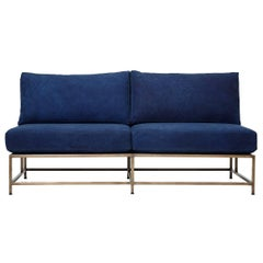 Hand-Dyed Indigo Canvas and Antique Brass Loveseat