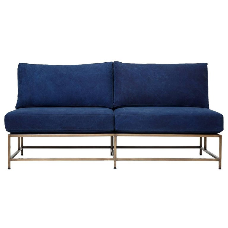 Hand-Dyed Indigo Canvas and Antique Brass Loveseat For Sale