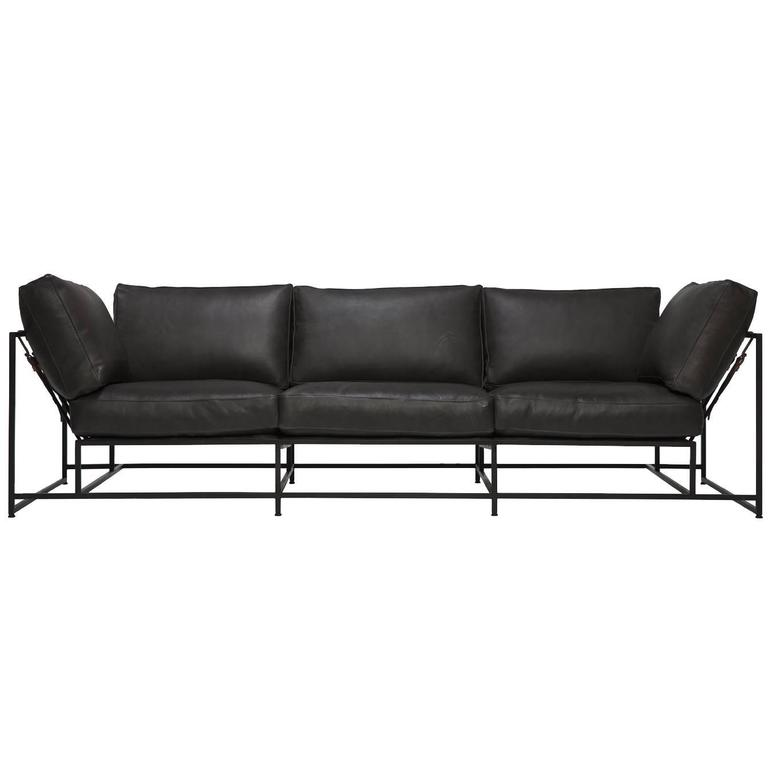 Smoke Leather and Blackened Steel Sofa