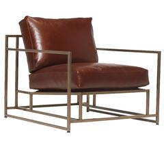Walnut Leather and Antique Brass Armchair