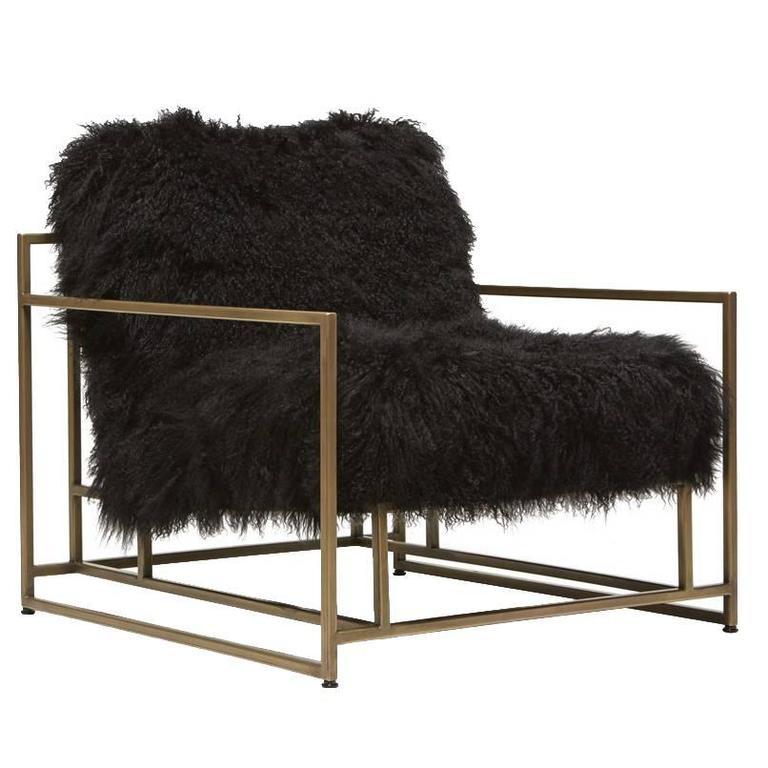 Mongolian Black Sheepskin and Antique Brass Armchair