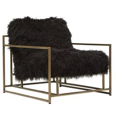 Mongolian Black Sheepskin and Antique Brass Armchair
