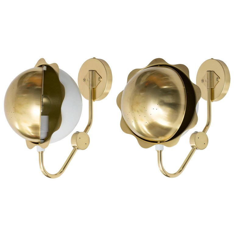 Scandinavian Modern Eclipse Sconces, Polished Brass and White Lacquer For Sale