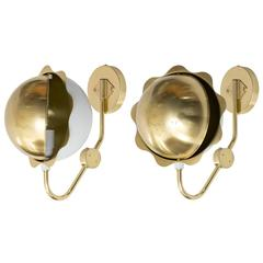"""Pair of Scandinavian Modern """"Eclipse"""" Sconces, Polished Brass and White Lacquer"""