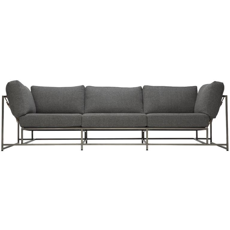 Faribault Grey Wool and Antique Nickel Sofa