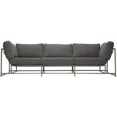 Faribault Grey Wool and Antique Nickel Sofa