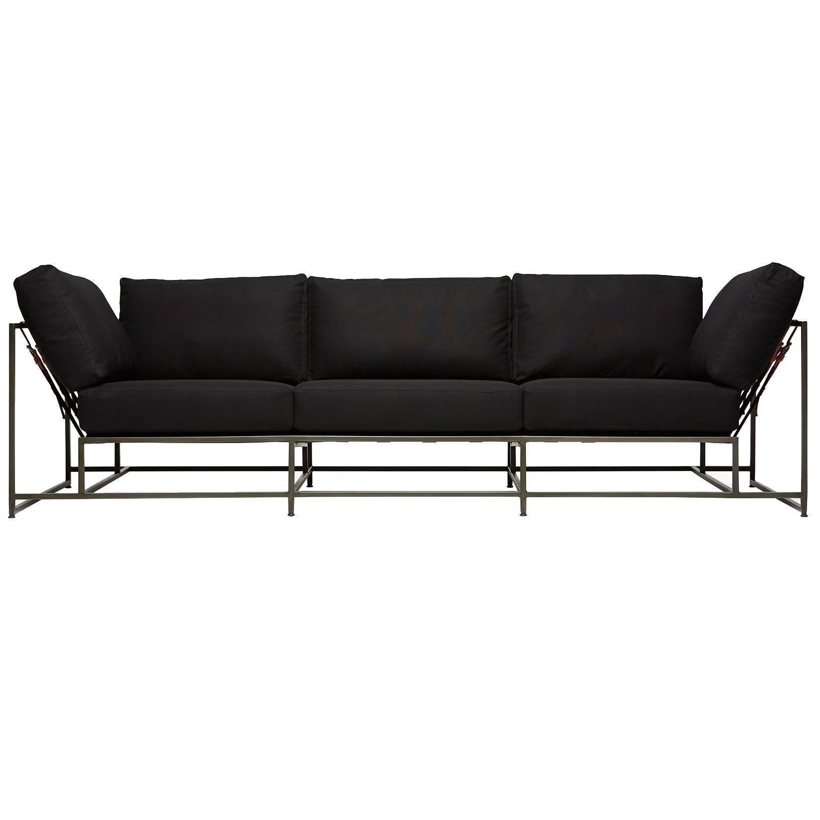 Black Canvas and Blackened Steel Sofa