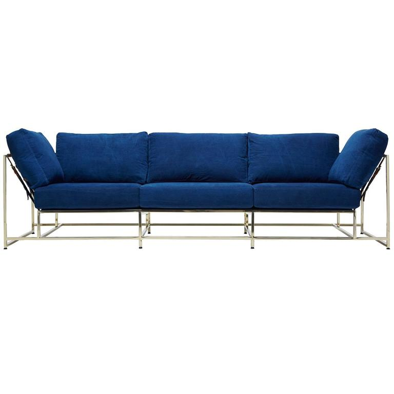 Hand-Dyed Indigo Canvas and Polished Brass Sofa