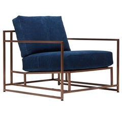 Hand-Dyed Indigo Canvas and Antique Copper Armchair