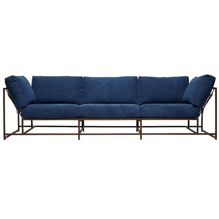 Hand-Dyed Indigo Canvas and Marbled Rust Three Piece Sofa