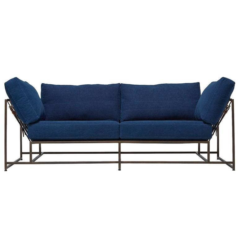 Hand-Dyed Indigo Canvas and Antique Copper Two-Seat Sofa For Sale