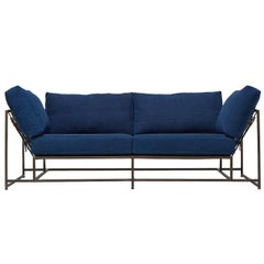 Hand-Dyed Indigo Canvas and Antique Copper Two-Seat Sofa